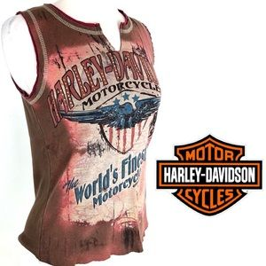 Harley-Davidson Sleeveless Retro Style Tee, M